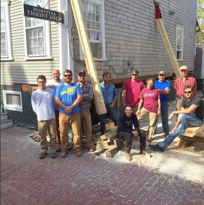 The North Bennet Street School's Preservation Carpentry Class in front of Nantucket Cottage Hospital Thrift Shop